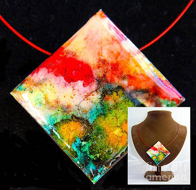 Wall Art - Painting - Red Sky Necklace by Alene Sirott-Cope