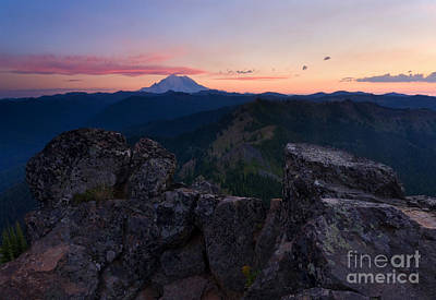 Red Sky Over Rainier Art Print