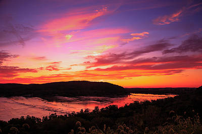 Susquehanna River Photograph - Red Sky Over The River by Troy  Snider