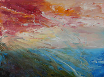 Print featuring the painting Red Sky by Sandra Nardone