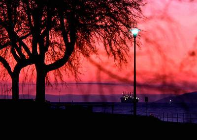 Photograph - Red Sky Surrounds Freighter by Robert  Rodvik