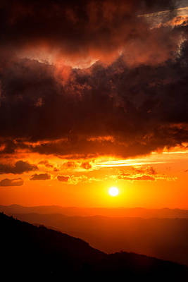 Parkway Photograph - Red Sky, Rough Ridge, Blue Ridge Parkway Nc by Tommy  White