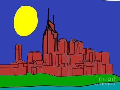 Nashville Skyline Digital Art - Nashville Skyline Red by Christa Cruikshank
