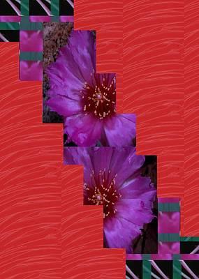 Painting - Red Sliken Sparkle Base N Flower Cut Accross by Navin Joshi