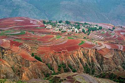 Rural Landscapes Photograph - Red Soil Farmlands In Dongchuan District by Tony Camacho