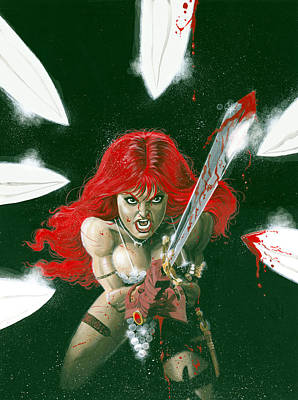 Barbarian Painting - Red Sonja  by Ken Branch