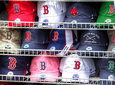 Sox Photograph - Red Sox Baseball Caps by Donna Doherty