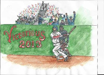 Homerun Drawing - Red Sox Victory by Mary Fish