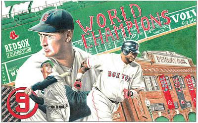 Red Sox Drawing - Red Sox World Champions by David Vieyra