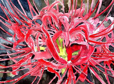 Realistic Painting - Red Spider Lily Flower Painting by Derek Mccrea