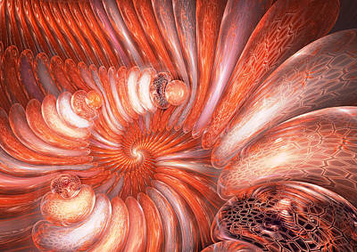 Digital Art - Red Spiral by Martin Capek