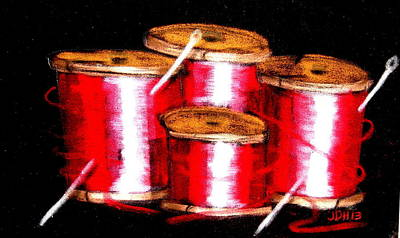 Art Print featuring the drawing Red Spools 3 by Joseph Hawkins