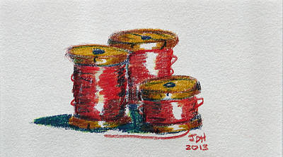 Spool Painting - Red Spools Of Thread by Joseph Hawkins