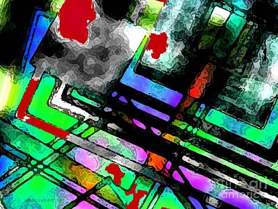 Horizontal Digital Art - Lines And Colors On Black Art  by Mario Perez