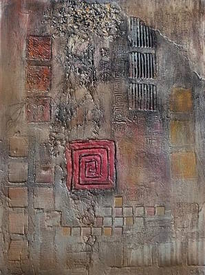 Art Print featuring the mixed media Red Square by Buck Buchheister