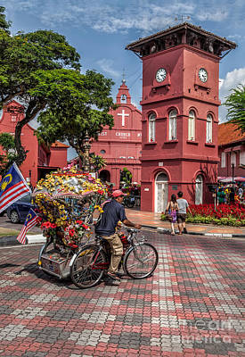 Clock Shop Photograph - Red Square Malacca by Adrian Evans