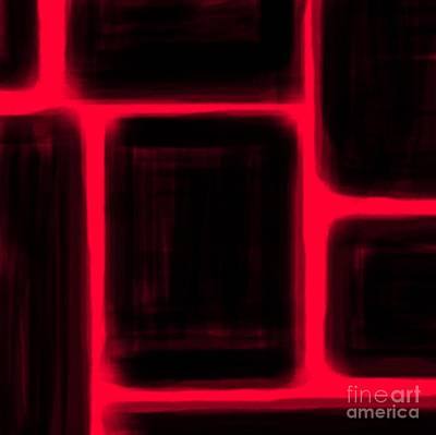 Art Drawn By Mouth Digital Art - Red Squared by James Eye
