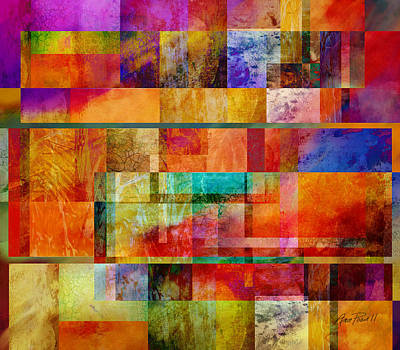 Color Block Digital Art - Red Squares Abstract Art by Ann Powell