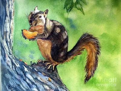 Red Squirrel And Orange  Original by Patricia Pushaw