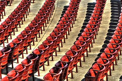 Photograph - Red Stadium Seats Pritzker Music Pavilion Millennium Park by Roger Passman