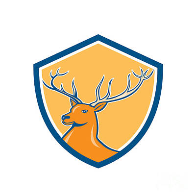 Deer Digital Art - Red Stag Deer Head Shield Cartoon by Aloysius Patrimonio