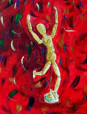 Red Stance Art Print by Cynthia Hudson