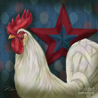 Rural Scenes Mixed Media - Red Star Rooster by Shari Warren