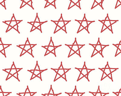 Red Digital Art - Red Stars Vector Textile Backdrop. Can by Flas100