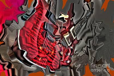 Red Steel Digital Guitar Art By Steven Langston Art Print by Steven Lebron Langston