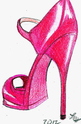 Drawing - Red Stiletto by Loretta Nash