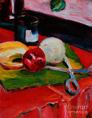 Table Cloth Painting - Red Still Life by Janet Felts
