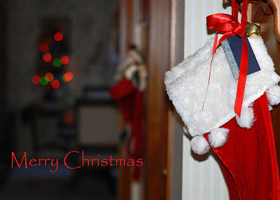 Photograph - Red Stockings Say Merry Christmas by Connie Fox