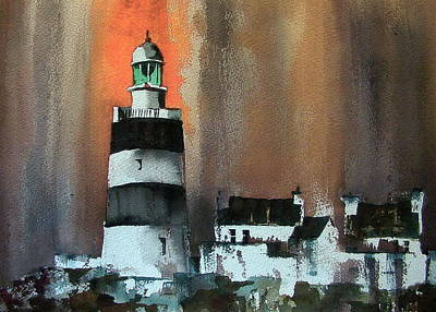 Painting - Red Storm At Hook Head Wexford by Val Byrne