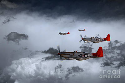 P51 Mustang Digital Art - Red Storm by J Biggadike