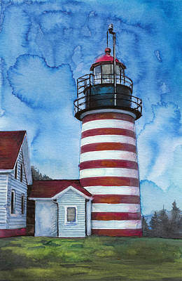 Red Stripped Light House Art Print by Susan Powell