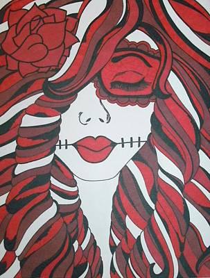 Sugar Skull Girl Drawing - Red Sugar Skull Girl by Toni Margerum