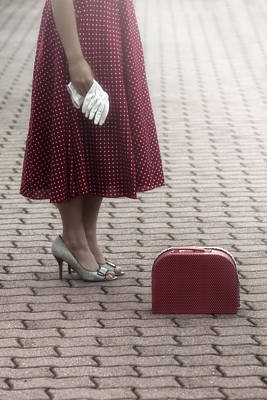 Waiting Girl Wall Art - Photograph - Red Suitcase by Joana Kruse