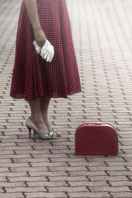 Red Suitcase Art Print by Joana Kruse