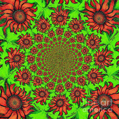 Painting - Red Sunflower Kaleidoscope Mandela by Genevieve Esson