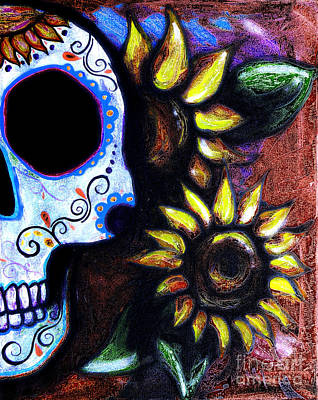 Red Sunflower Skull Art Print by Lovejoy Creations