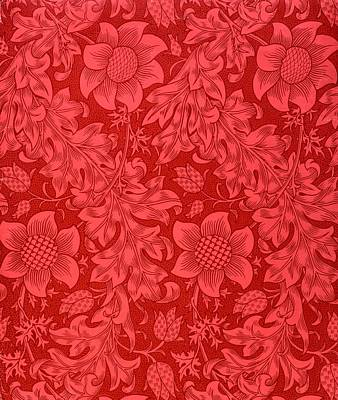 Pattern Drawing - Red Sunflower Wallpaper Design, 1879 by William Morris