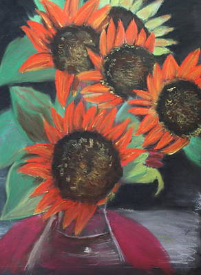 Red Sunflowers Art Print