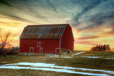 Barn Red Photograph - Red Sunrise by Thomas Zimmerman