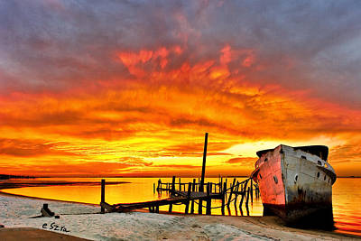 Red Sunset - Beached Ship At Sunset Art Print by Eszra Tanner