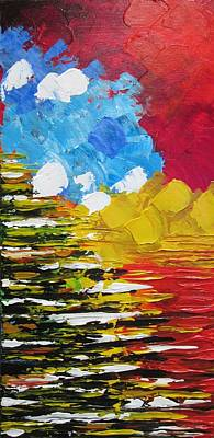 Abstract Realism Painting - Red Sunset by Molly Roberts