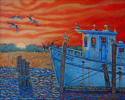 Red Sunset On Shem Creek Art Print by Dwain Ray