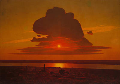 Dnieper Wall Art - Painting - Red Sunset On The Dnieper by Arkhip Ivanovich Kuindzhi