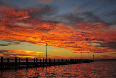 Photograph - Red Sunset Pier Seaside Nj by Terry DeLuco