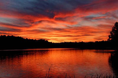 Photograph - Red Sunset Reflections by Denyse Duhaime