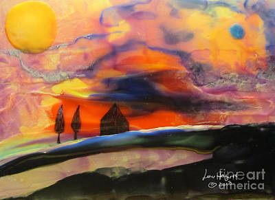 Painting - Red Sunset With Building by Lew Hagood